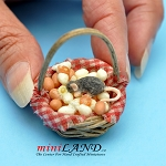 Mouse Eggs In Basket dollhouse miniature 1:12