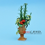 Arrangement Arundo with Red African Violet for dollhouse miniature 1:12 scale