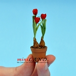 Tulips In Pot -Red for dollhouse miniature 1:12 scale