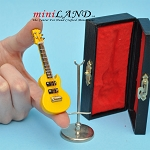 Miniature yellow Electric Guitar  with Case and stand for Dollhouse 3-1/4