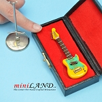 Miniature yellow green Electric bass Guitar  with Case and stand for Dollhouse 3-1/4