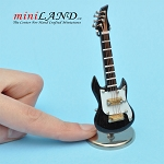 Miniature black white Electric bass Guitar  with Case and stand for Dollhouse 3-1/4