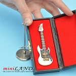 Miniature white black Electric bass Guitar  with Case and stand for Dollhouse 3-1/4