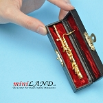 Miniature Metal Bassoon  with Case for Dollhouse 3-1/4