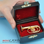 Miniature brass tuba  with Case for Dollhouse 2-1/4