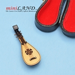 Miniature Chinese lute musical instruments  with Case and stand for Dollhouse 3