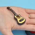 Miniature acoustic Guitar  with Case and stand for Dollhouse 2-3/4
