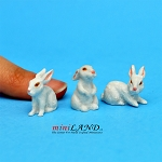 "Rabbits - Set 3pcs  ⅝""H/⅝""L/¾""W For dollhouse miniatures 1:12 scale"