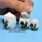 Cannisters Rooster - Set/3 Dollhouse miniature 1:12