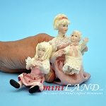 Marge with daughters 3pcs by Patricia L Thomas Old-style blonde mother and children  1:12