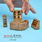 1:48 Scale store shop counters and shelves units 6pcs Pine- Top Quality