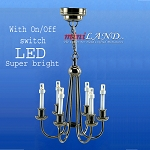 Black Colonial 6 Arm chandelier  LED Super bright with On/off switch