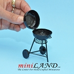 Black Metal Charcoal BBQ Grill Miniature Dollhouse GARDEN Furniture 1:12 scale