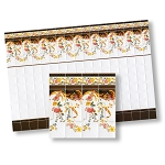 Mediterranean Kitchen Wall Tiles for dollhouse miniature 1:12 scale - one sheet