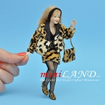 x032 Heidi Ott Dolls House Doll, Lady Wearing Leopard Skin