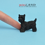 Terrier dog  for dollhouse miniature 1:12 scale Black