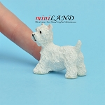 Terrier dog  for dollhouse miniature 1:12 scale white