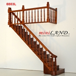 LEFT Quality Staircase set with railings 1:12 Scale  for 9