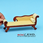 Wooden chaise lounge chair with yellow fabric dollhouse miniature