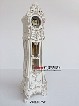 Working Dollhouse Miniature Grandfather Clock White V4010E-WT