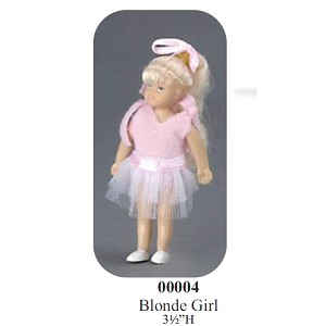 "BLONDE GIRL  with OUTFIT vinyl doll 3""H"