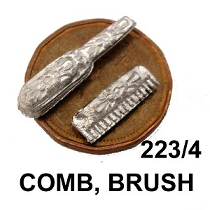 "COMB and BRUSH 3/4""L unfinished DIY metal miniature for dollhouse - Do it yourself"
