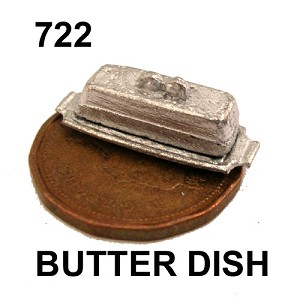 "BUTTER DISH with COVER 5/8""L unfinished DIY metal miniature for dollhouse - Do it yourself"