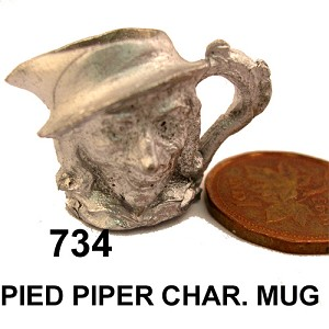 "PIED PIPER CHAR. MUG 1""H unfinished DIY metal miniature for dollhouse - Do it yourself"