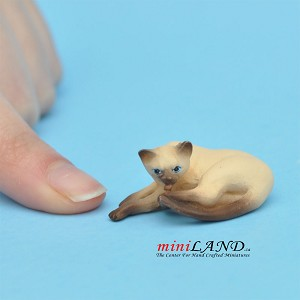 "Cats Siamese 5⁄8""H/13⁄4""L/1""W For dollhouse miniatures 1:12 scale"