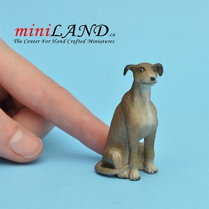 Whippet sitting dog for Dollhouse miniature 1:12 scale