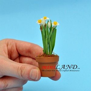 Daffodil In Pot for dollhouse miniature 1:12 scale