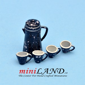 Metal Coffee Pot and 4 Mugs set  for dollhouse miniature 1:12 scale