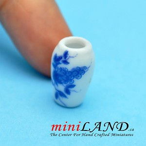 Small Blue Flower China Vase for dollhouse miniature 1:12 scale 1.7cm tall