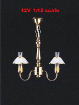 Clearance SALE 2-Arm Chandelier Fluted ceiling12v dollhouse miniature1:12 light