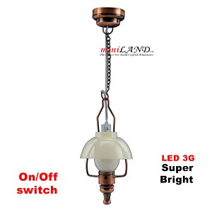 Copper American swag lamp LED Super bright with On/off switch for dollhouse miniature 1:12 scale