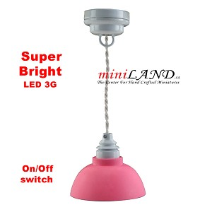 Pink ceiling girl room lamp LED Super bright with On/off switch for dollhouse miniature 1:12 scale
