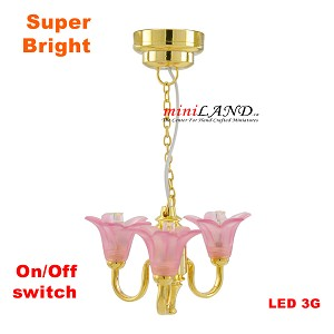 Pink Victorian 3-Arm Tulip brass Chandelier LED Super bright with On/off switch for 1:12 dollhouse miniature