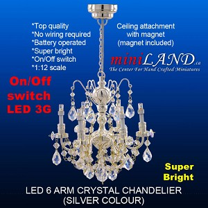 SILVER crystal chandeliers, 6 arms  lamp LED Super bright with On/off switch for 1:12 dollhouse miniature