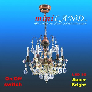 Crystal Copper chandeliers, 6 arms, LED Super bright with On/off switch for dollhouse miniatures 1:12 scale