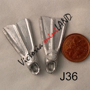 "FLIPPERS pair 1-1/2""L unfinished DIY metal miniature for dollhouse - Do it yourself"