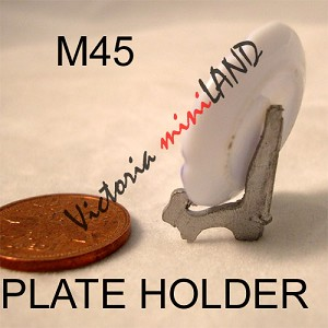 "Plate Holder 3/4""H unfinished DIY metal miniature for dollhouse - Do it yourself"