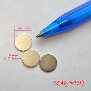 "3 Additional disk magnets for miniLAND LED lights  3/8"" x 1/32"""