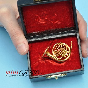 "Miniature brass  French Horn  with Case for Dollhouse 1-1/2"" Long"