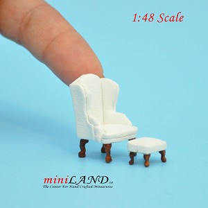 "1:48 1/4"" quarter scale Queen Ann armchair and  stool set 2pcs Top quality  White"