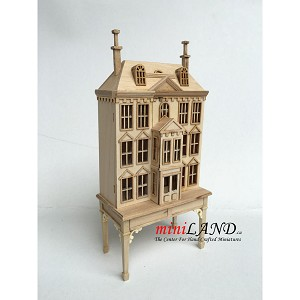 Victorian Dollhouse for dollhouse with table unfinished - 1:144 scale -Top Quality