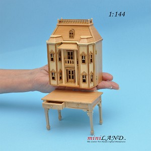 Georgian DOLLHOUSE FOR DOLLHOUSE WITH TABLE PINE 1:144 scale -Top Quality