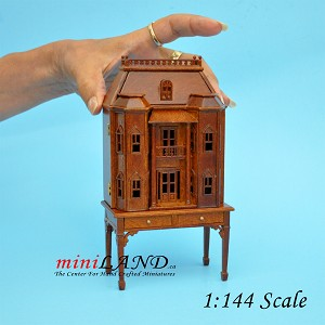 Georgian DOLLHOUSE FOR DOLLHOUSE WITH TABLE WALNUT 1:144 scale -Top Quality