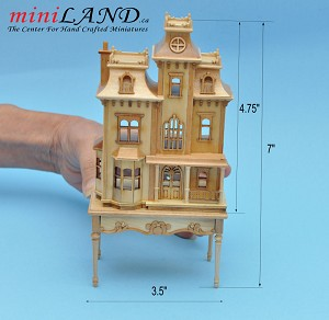 Victorian back opening DOLLHOUSE FOR DOLLHOUSE WITH TABLE PINE 1:144 scale -Top Quality