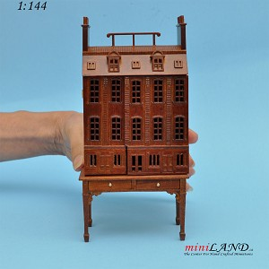 Townhouse DOLLHOUSE FOR DOLLHOUSE WITH TABLE WALNUT 1:144 scale -Top Quality