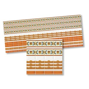 Wall Border Tiles for dollhouse miniature 1:12 scale - one sheet